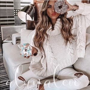 Cropped Oversized Cable Turtleneck Sweater